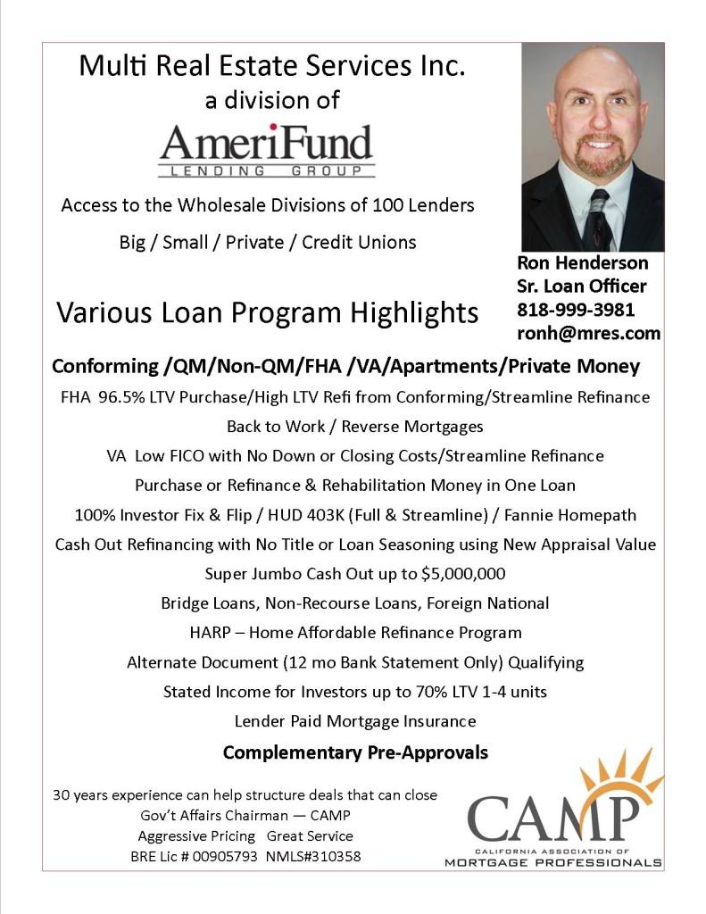 MRES Amerifund loan program marketing